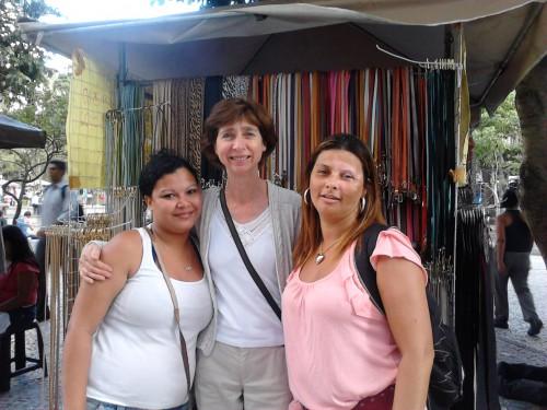 Maria do Carmo Santos, street vendor representative (right) with Nohra Wintour, Streetnet and another street vendor.