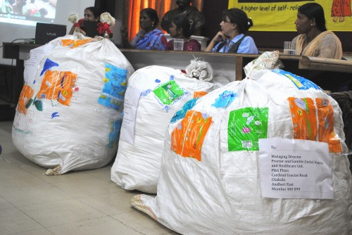 Bags full of used sanitary napkins addressed to companies that manufacture the product. Photo credit: SWaCH.