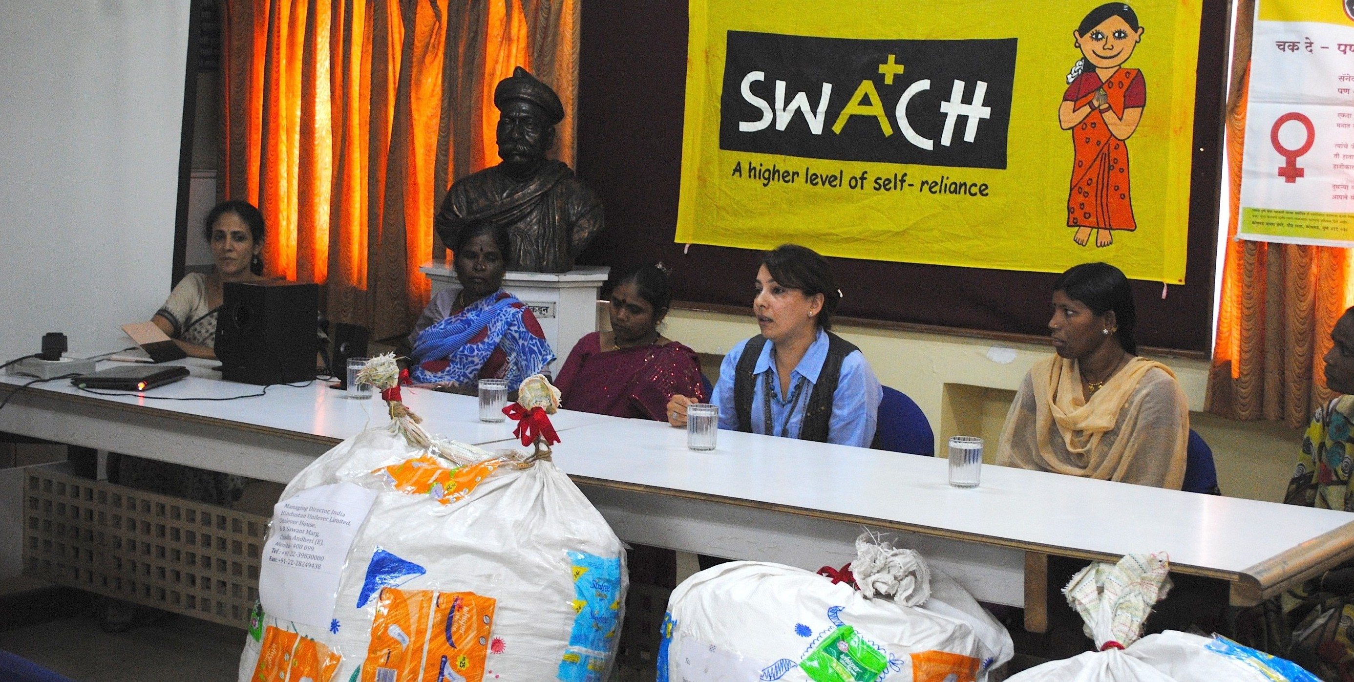 A press conference in March 2013 to address the issue of proper disposal of sanitary napkins. Photo credit: SWaCH.