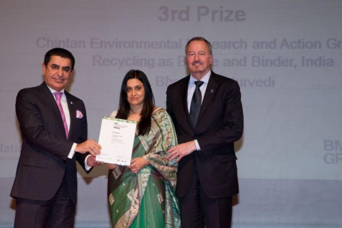 Chintan receives the UN Intercultural Innovation Award. Photo credit: Chintan.