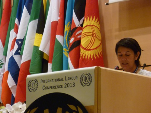 Nohra Padilla, of Colombia, speaks at the ILO Conference plenary session. Photo credit: WIEGO.