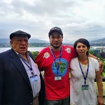 Waste picker delegates Alex Cardoso and Nohra Padilla with Luis Miguel Morales, of the Colombian trade union confederation. Photo: Lucia Fernandez.