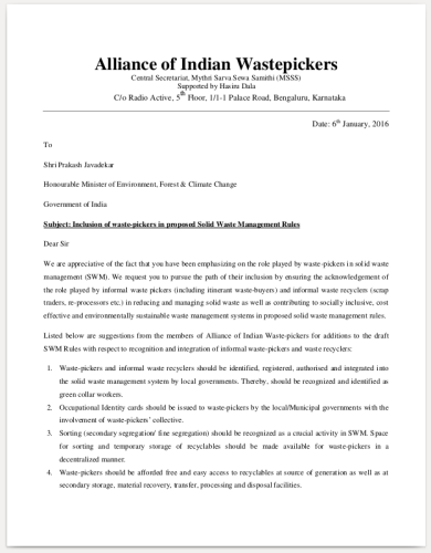 alliance-indian-wastepickers-letter-to-minister