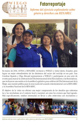 Informe del ejercicio exploratorio sobre género y derechos con RENAREC Descarga el fotoreportaje en pdf.