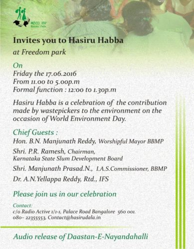 Hasiru Dala invitation to Hasiru Habba 2016