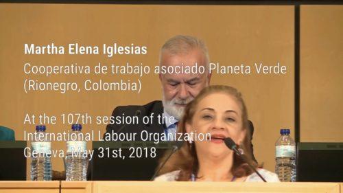 Martha Elena Iglesias at the 107th session of the International Labour Organization
