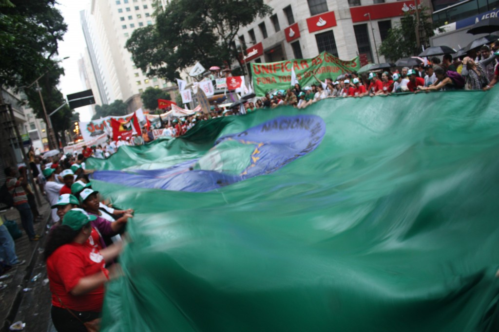 waste pickers march at people's march, Rio de janeiro