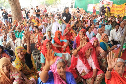 Members of civil society demand pension rights in Delhi, India.