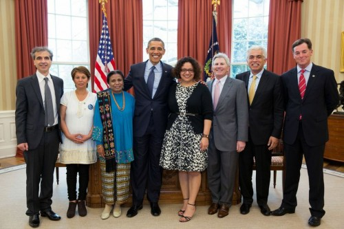 Nohra Padilla and other Goldman Environmental Prize winners meet President Barack Obama at the White House. Photo credit: Goldman Prize.