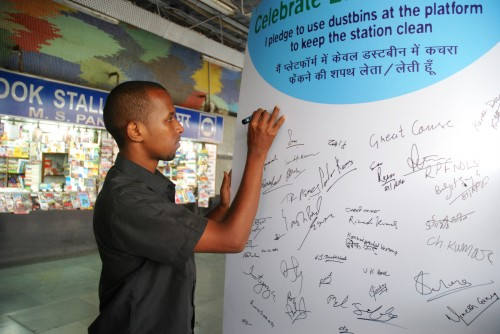 Pledge being signed by a passenger. Photo credit: Chintan.