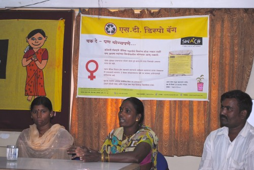 """A press conference held in March about SWaCH's """"Send it Back"""" campaign. Photo credit: SWaCH."""