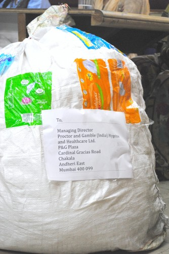 A bag full of used sanitary napkins address to Proctor and Gamble, one of the companies that manufactures the product. Photo credit: SWaCH.