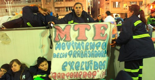 The Movement of Excluded Workers (MTE) at a vigil during their visit to Rio to see the pope. (Photo: Deia de Brito)