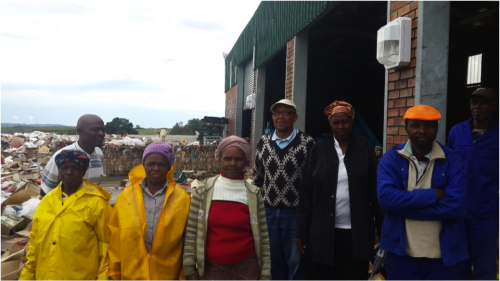 Members of the Vusanani Environmental Project Primary Cooperative in front of the MRF. Photo: groundwork