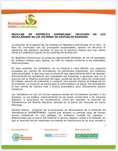 Nota de MNRRD República dominicana. 2016