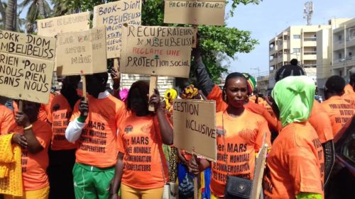 Bokk Diom (Senegal) silence March for global waste pickers' day on March 1st 2020.