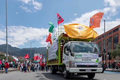 Manifestación por el día mundialde los recicladores. 2 de marzo 2020 en Bogotá, Colombia.