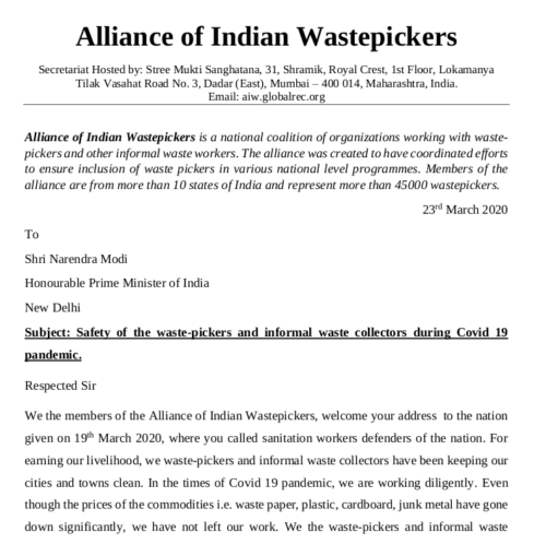 Letter to the Prime Minister for safety of waste pickers and informal waste collectors. AIW.