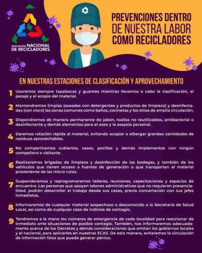 Prevención coronavirus COVID-19 en estaciones de clasificación y aprovechamiento. ANR Colombia.