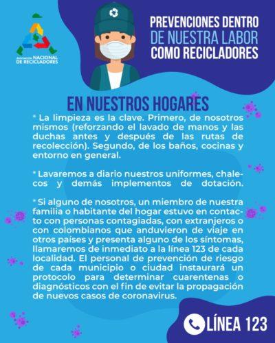 Prevención coronavirus COVID-19 en nuestros hogares. ANR Colombia.